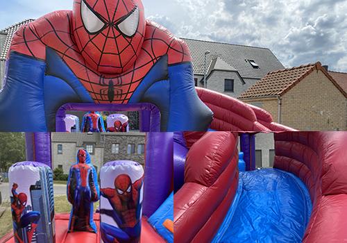 aventi verhuur springkastelen Spiderman blauw